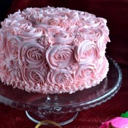 Eggless Checkered Rose Cake