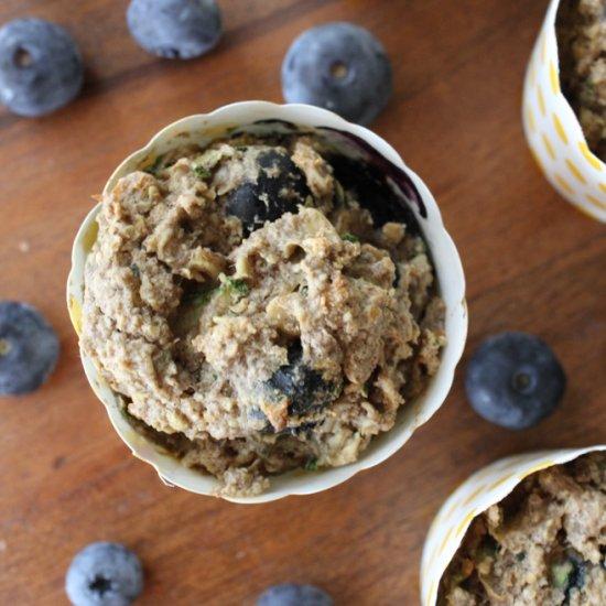 Zucchini Blueberry Oat Muffins