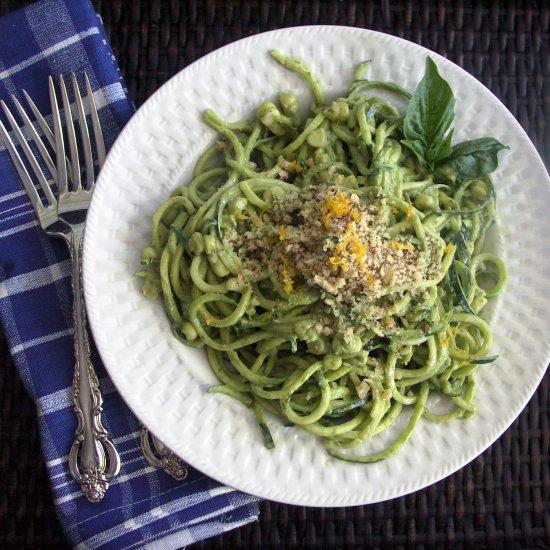 Zucchini w/ Avocado Pesto & Corn