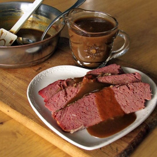 ... Guinness Corned Beef with a Guinness Reduction Sauce! It's Magically