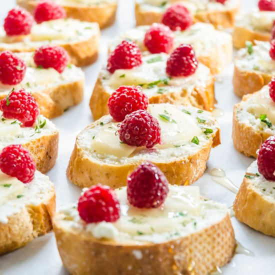 ... raspberry, pear, and goat cheese crostinis are always a crowd pleaser