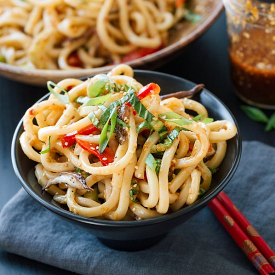 Chilled Garlic Sesame Udon Noodles with Bok Choy, Shiitake Mushrooms ...