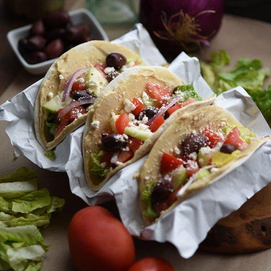 Mediterranean Veggie Hummus Tacos