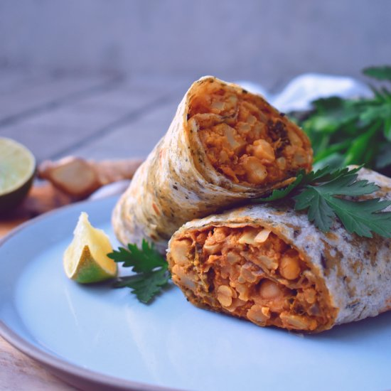 Cauliflower Chickpea Curry Wraps