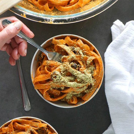 Vegan Red Pepper Pesto Fettuccini