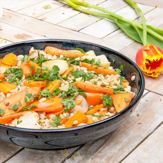 Braised Carrot Pearl Barley Salad