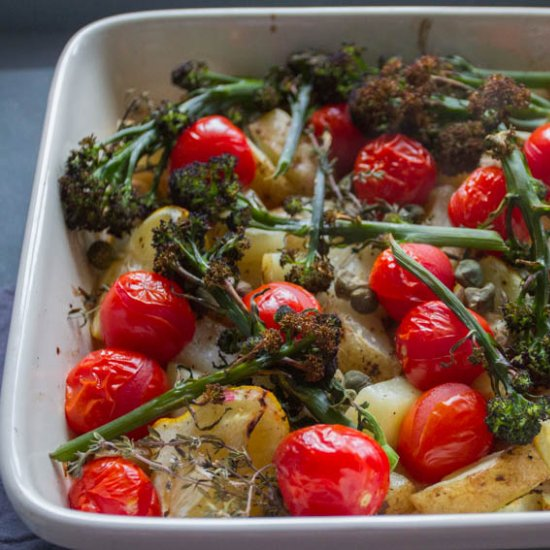 Spring Vegetable Tray Bake