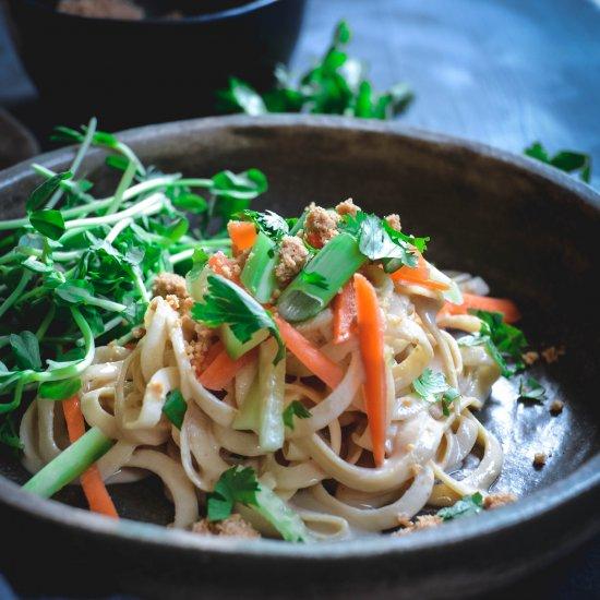 rutabaga noodles with tahini sauce