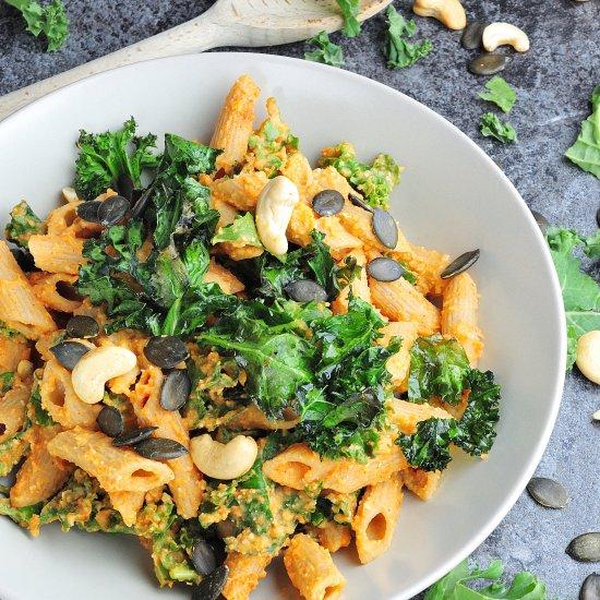 Sweet potato cream & kale pasta