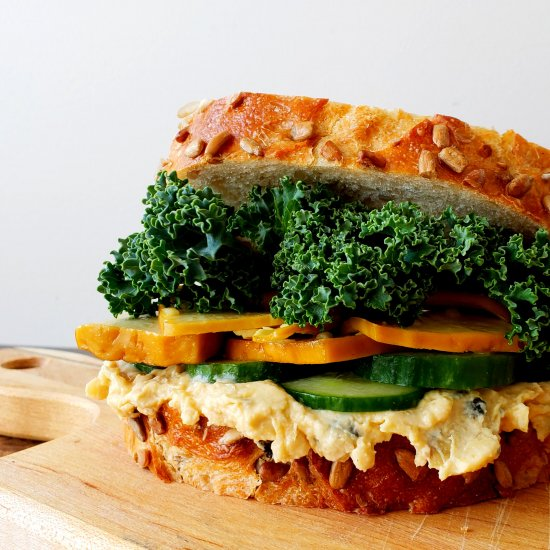 Smoked Tofu Sandwich with Hummus