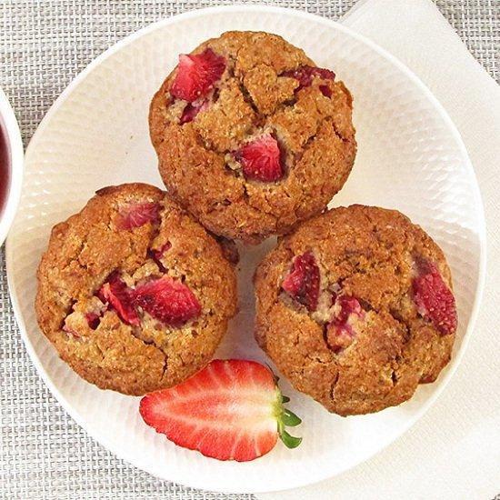 Vegan Strawberry Oat Muffins