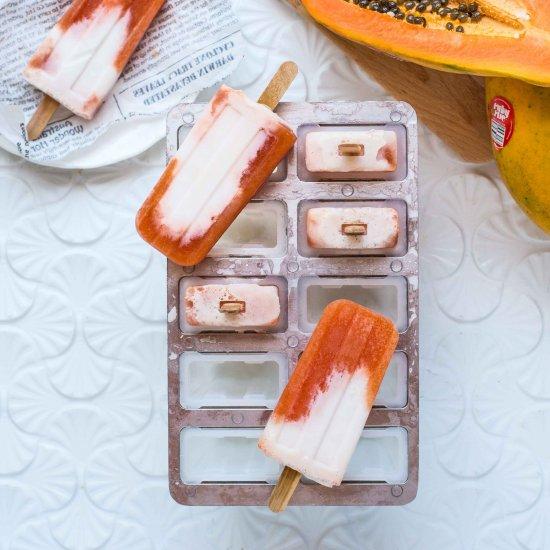 Red Papaya & Coconut Milk Ice Pops
