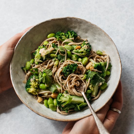Peanut buckwheat soba noodle salad