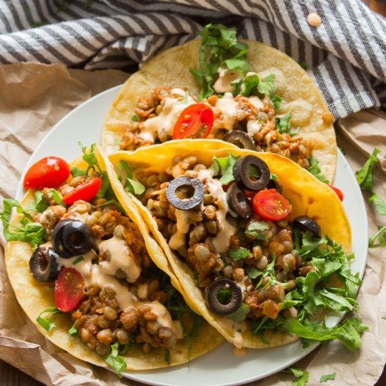 Lentil Tacos with Cashew Queso