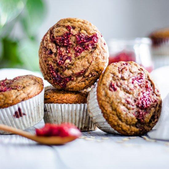 Strawberry Jam Swirl Muffins