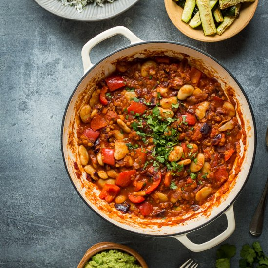 Lentil, Veg and Butter Bean Chilli