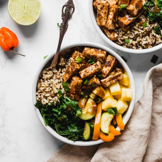 Jerk Tofu Vegetable and Rice  Bowl