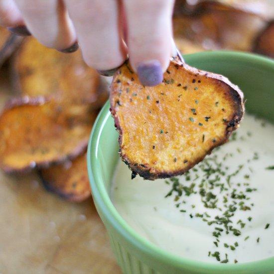 Parmesan Baked Sweet Potato Chips