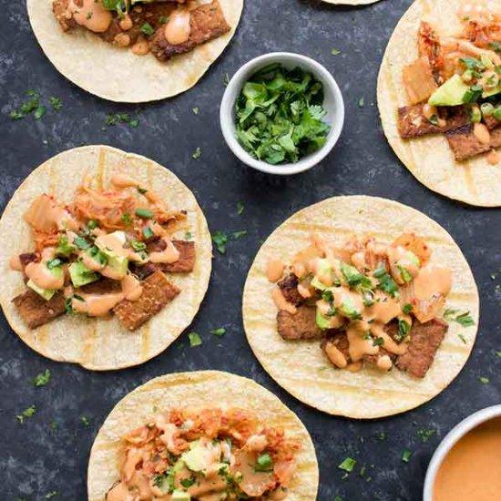 Kimchi Tacos with Gochujan Aioli