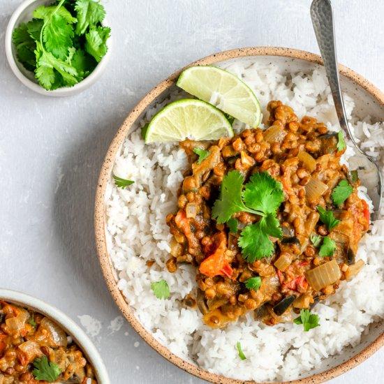Vegan Eggplant Lentil Curry