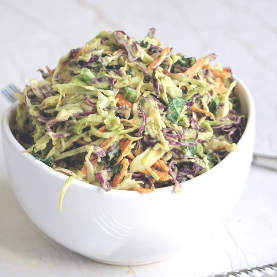 Creamy Low Carb Coleslaw + Dressing