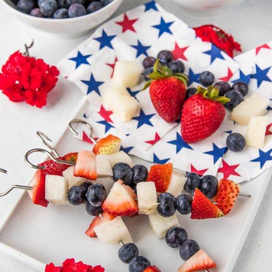 Patriotic Fruit Kabobs