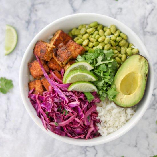 Spicy Tofu and Cilantro Rice Bowls