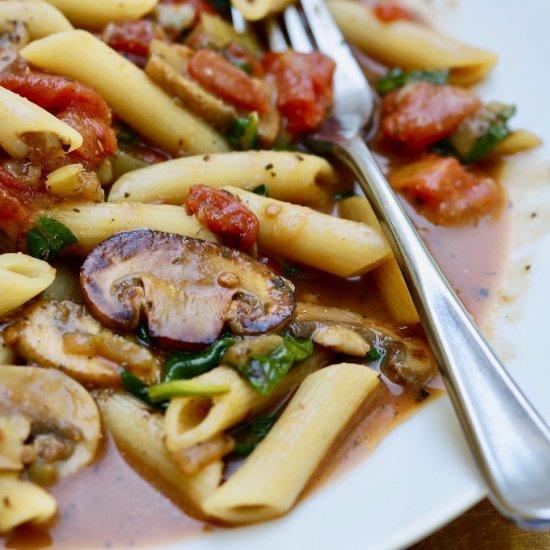 Spinach & Mushroom Pasta ( Vegan)