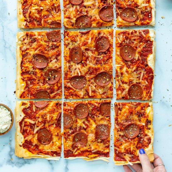 Vegan Phyllo Pepperoni Pizza