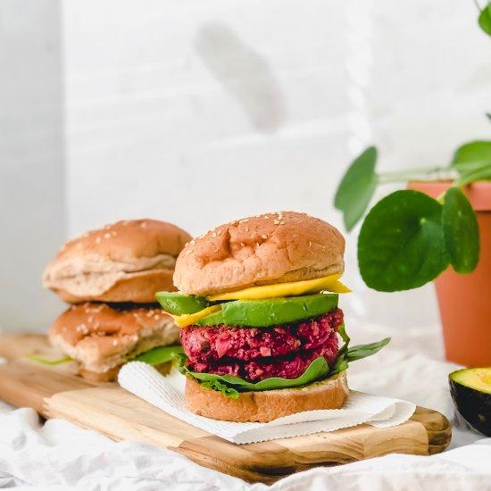 Beyond Beet Quinoa Burgers (vegan)