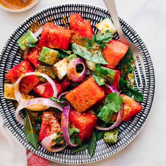 Watermelon Basil Cucumber Salad