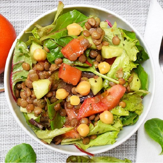 Vegan Lentil Mixed Greens Salad
