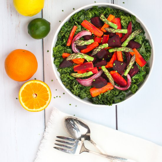 Warm Kale Salad and Roasted Veggies
