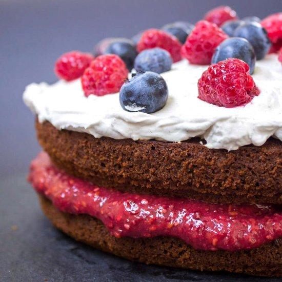 Vegan Berry Sponge Cake (vegan/gf)